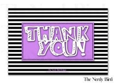 Black and White Striped Purple Printable Thank You Card by TheNerdyBird1, $5.00