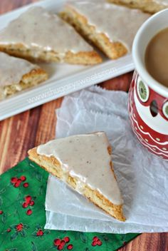 Eggnog Scones pair beautifully with a cup of coffee, tea, or hot cocoa! Their texture is spot on, and the glaze melts in your mouth!