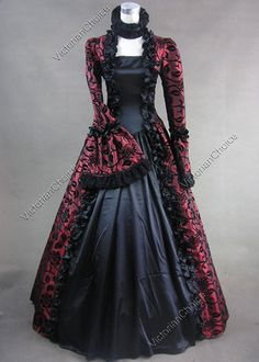 Victorian Gothic Ball Gown Steampunk Dress Reenactment Halloween Costume