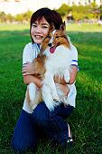 Girl and her sheltie