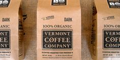 """""""Vermont Coffee Company is a small-town roaster located in Middlebury, Vermont. They only use fair trade organic coffees. Place created a full brand system with a classic """"General Store"""" feel. A 100-year-old press gave the first round of bags a timeless sense of integrity while staying well under budget."""" Designed by Place Creative...found on The Dieline."""