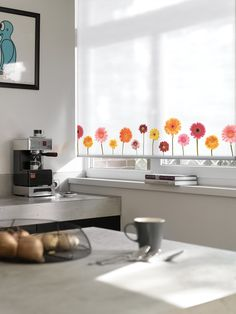 Expressions Roller Blind - fun design add a punch of colour to the kitchen. Luxaflex Roller Blinds.  #home decor #kitchen #luxaflex www.briansnolan.ie