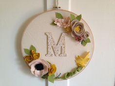 Hoop art // Felt Flower Wall Hanging // by MillStreetMakes on Etsy