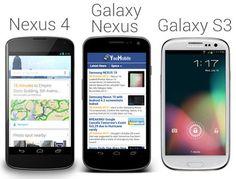 Comparaison entre le Galaxy S3, Le Google Nexus 4 et le Glaxy Nexus
