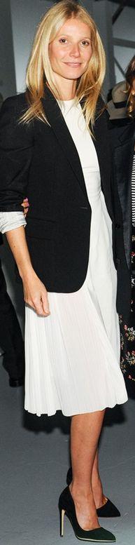 Gwyneth Paltrow: Jacket and dress – Stella McCartney    similar style jacket by the same designer