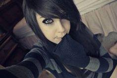 black hair tumblr - Google Search Short Scene Haircuts, Pretty Hairstyles, Girl Hairstyles, Emo Girls, Hair Girls, Scene Girls, Emo Scene, Dark Hair, White Hair