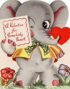 Vintage elephant Valentine.* Free paper dolls at Arielle Gabriel's The International Papef Doll Society and The China Adventures of Arielle Gabriel the huge China travel site by Arielle Gabriel *