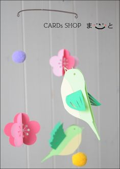 梅とうぐいすのモビール(お正月・春)画像1 Diy And Crafts, Crafts For Kids, Arts And Crafts, Paper Birds, Paper Flowers, Hina Matsuri, Paper Mobile, Bird Mobile, Newspaper Crafts