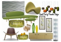 The lime green and bright yellow hues of a popular softdrink blend together suprisingly well in this living room.  Tip - don't be afraid to use bold colors in a BOLD way.  Make a statement!