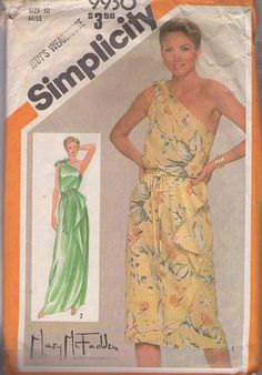 MOMSPatterns Vintage Sewing Patterns - Simplicity 9930 Vintage 80's Sewing Pattern ETHEREAL Designer Mary McFadden One Slung Shoulder Grecian Goddess Draped Sarong Skirt Disco Party Dress, Red Carpet Gala Formal Gown Size 10