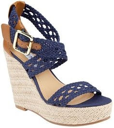 Steve Madden Magestee Wedge Sandals in Blue (navy) - Lyst
