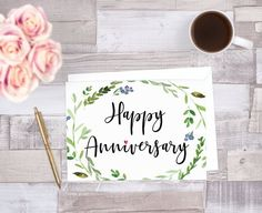 Happy Anniversary Printable Card Simple Black and White Hand Anniversary Card For Parents, Printable Anniversary Cards, Happy Anniversary My Love, Wedding Anniversary Cards, Printable Cards, Third Anniversary, Anniversary Funny, Wedding Cards, Printables