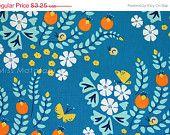 Organic Cotton Cloud9 Fabrics - Lotus Pond - Meadow Blossoms - blue - fat quarter