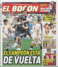 """""""EL CAMPEÓN ESTÁ DE VUELTA"""" fue el titular que usó el diario El Bocón para destacar el triunfo de Sporting Cristal por cuatro a cero frente a Universitario de Deportes."""