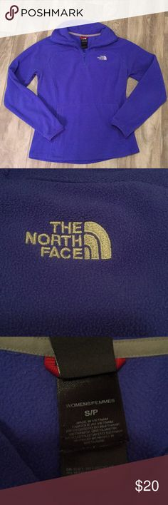 """North Face fleece Beautiful blue purple color. Size small. Kangaroo pocket in front. 1/4 zip. armpit to armpit is 17.5"""" and shoulder to bottom is 23"""". Great condition. Wished this fit be better because I love the color 😫. Bundle with any other item in my closet and save 20%! The North Face Tops"""