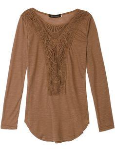 Only US$12.39 , shop Casual Women Crochet Hollow Patchwork Irregular Hem Blouse…