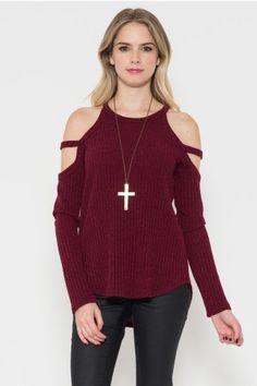 Shoulder Detail Rib Sweater Top