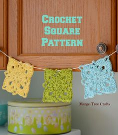 Crochet Square Free Pattern and photo tutorial from Mango Tree Crafts