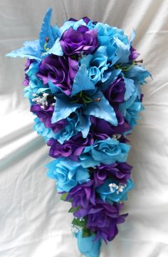 Purple and Turquoise Blue cascade wedding bouquet  lilies and roses2 pc