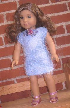Light blue, eyelash-knit dress for 18 Inch doll such as American Girl