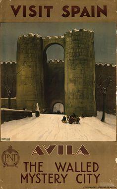 Avila / The Walled Mystery City / Vintage Visit Spain Poster