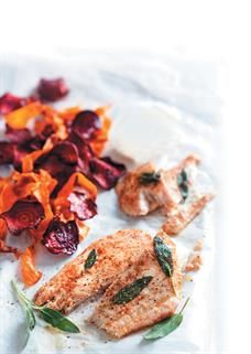 Lemon butter-grilled angelfish fillets with beetroot and carrot chips <br />Photo: