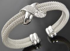 New Sterling Silver Cubic Zirconia Crossover Infinity Mesh Cuff Bracelet NWOT #Cuff