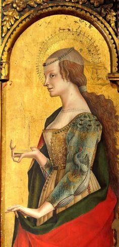 Carlo Crivelli-Santa Maria Maddalena(dettaglio), 174x54 cm,pannello dell'ordine inferiore del Trittico di Montefiore,1471,Polo museale di san Francesco,Montefiore dell'Aso