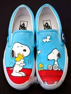 Painted Canvas Shoes, Painted Vans, Custom Painted Shoes, Painted Sneakers, Hand Painted Shoes, Snoopy Shoes, Vans Shoes Fashion, Custom Vans Shoes, Custom Converse