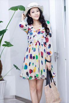 HuaYuZhiLu petal polka dot chiffon dress $78 from YesStyle