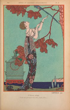 art nouveau home decor print of woman looking up at bird in red tree by barbier is part of Art deco illustration - Art Nouveau Home Decor Print of Woman Looking up at Bird in Red Tree by Barbier artNouveau Print Arte Art Deco, Moda Art Deco, Estilo Art Deco, Art Deco Artists, Art Deco Print, Posters Vintage, Retro Poster, Art Deco Posters, Vintage Art