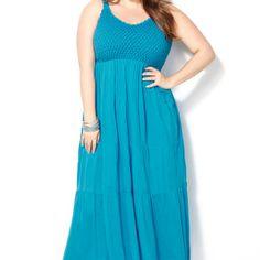 Turquoise Crochet Bodice Maxi Dress-Plus Size Maxi Dress-Avenue