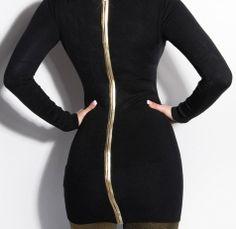 Stunning Long Sleeve Jumper Dress Full back Gold Zip Black