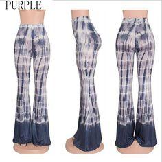 Tie Dye Style Pattern Bell Bottom Pants