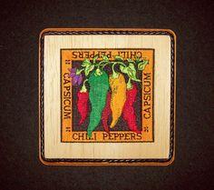 Chili Pepper/Capsicum Southwestern Kitchen Wall Decor/Embroidery on Balsa Wood by WitchezStitchez on Etsy