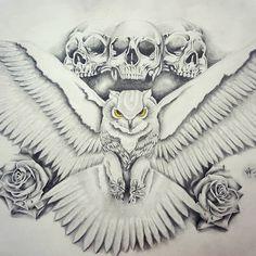 Back piece request. #owl #skull #skulls #roses #tattoodrawings #tattoos #tattooed #art #realism