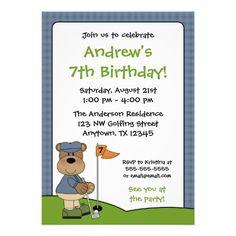Golfing Bear Kids Birthday Party Invitations