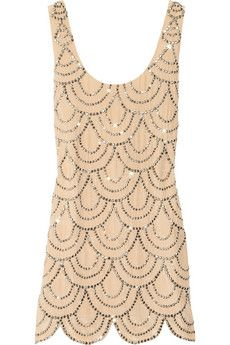 Rachel Gilbert Scala beaded silk mini dress.  Ridonc.