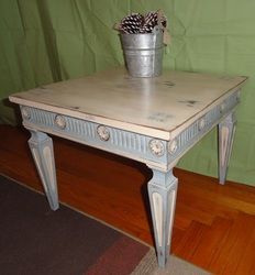 End table done In Annie's Old White and Louis Blue with clear and dark wax and a bit of stenciling.
