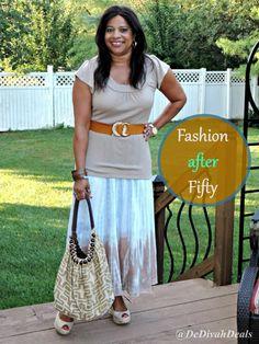 Fashion after Fifty #ootd #fashionafter50 #dressforless #maxiskirt #dedivahdeals