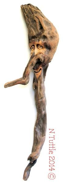 """""""Oh Weird One""""    23 inches tall and 8 inches across his widest point  Signed and dated:   N. Tuttle 9/3/14"""
