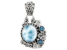 Artisan Gem Collection Of Bali(Tm) Oval Larimar With .61ctw Round Swiss Blue Topaz Silver Pendant