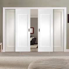 Easi-Slide OP1 White Shaker Pattern 10 Style Panel Sliding Door System in Four Size Widths - Lifestyle Image