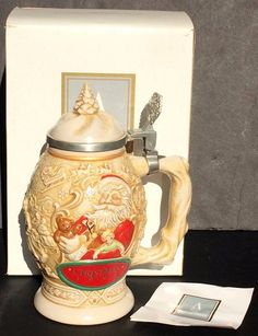 Avon Father Christmas Stein 1994 in Box Lidded 41961 Santa Claus Beer Mug  | eBay