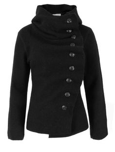 black wool jacket with loads of buttons and cool colar