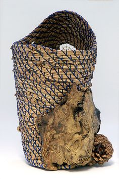 Blue Pine Vase, Pine Needle Basket Fiber Art