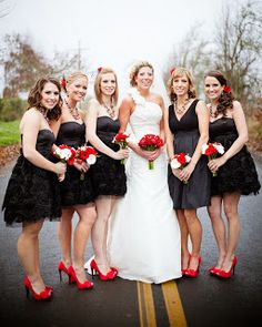 I love the color scheme. Red, Black and White. Very Classic and romantic plus it isn't hard for a bridesmaid to find a little black dress.  chances are that your girls already have one.  add a scarf with a deep beautiful red and you have added the pop of color.