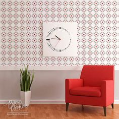 Modern Allover Wall Stencil, Diamonds & Dots, by Bonnie Christine for Royal Design Studio
