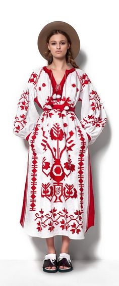 Red and white boho embroidered peasant dress