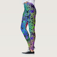 Colorful Skulls and Butterflies Fashion Leggings